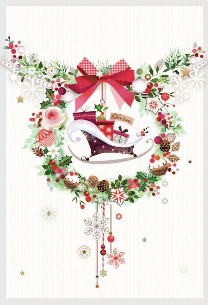 Lynn Horrabin - wreath sleigh generic.jpg | Navidad | Pinterest ...