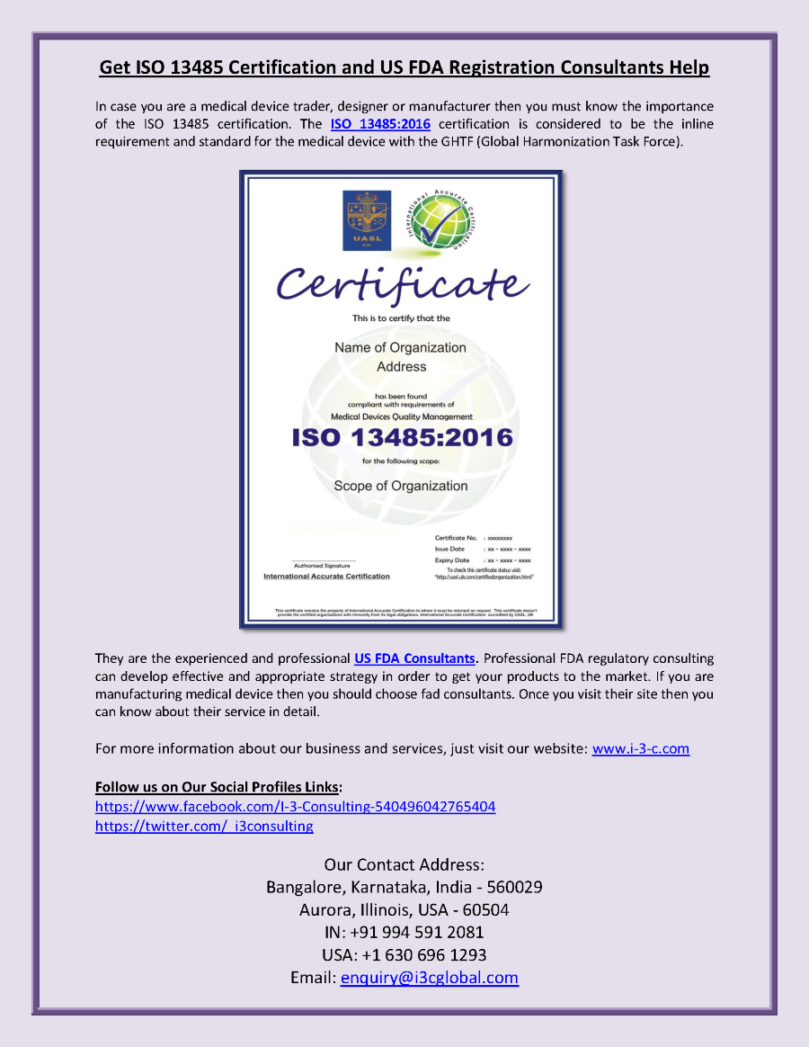 Get Iso13485certification And Usfdaconsultants Registration Help