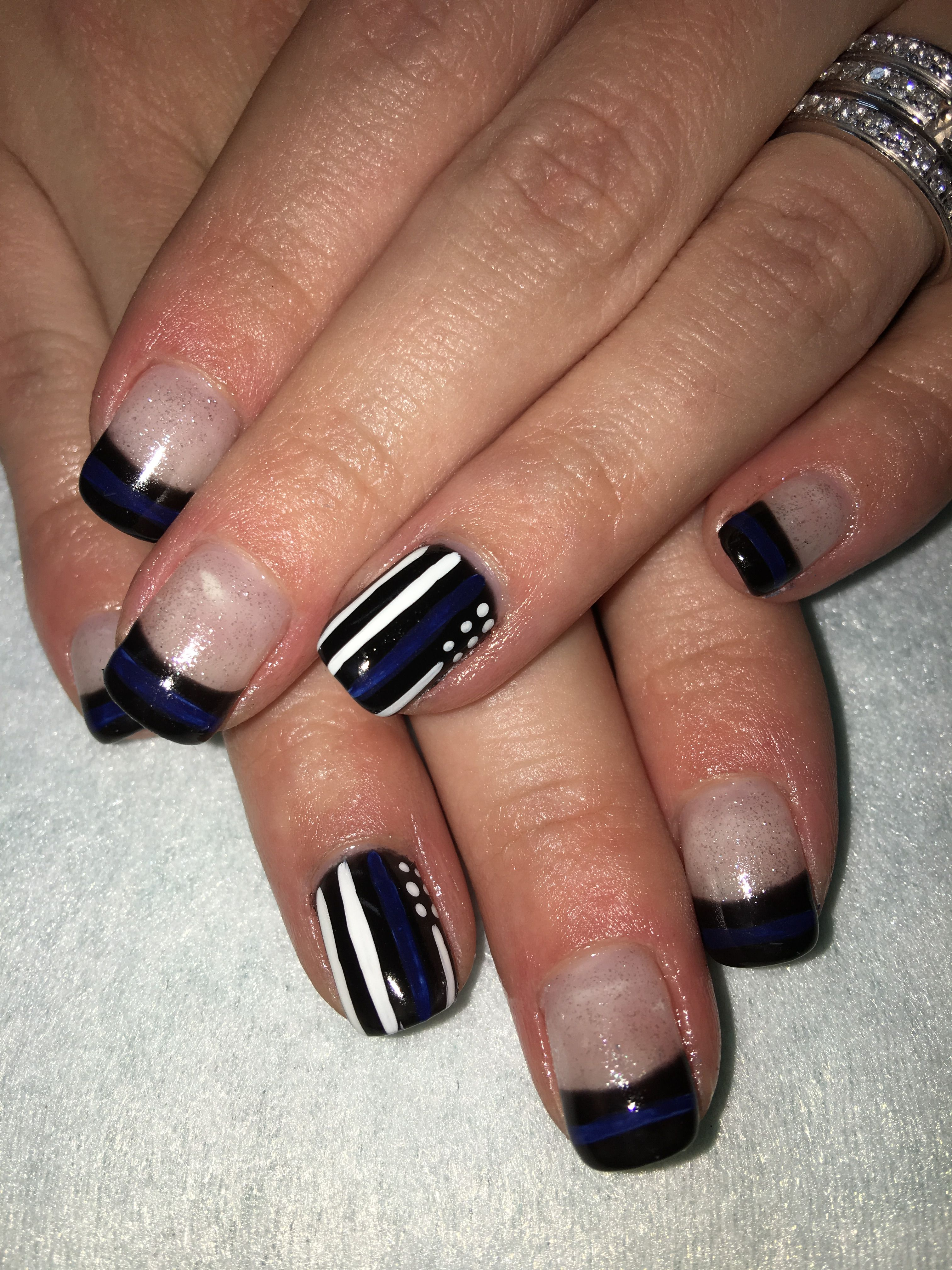 Back The Blue Support Police Black Blue Flag French Gel Nails Gel Nails Nails Nail Designs