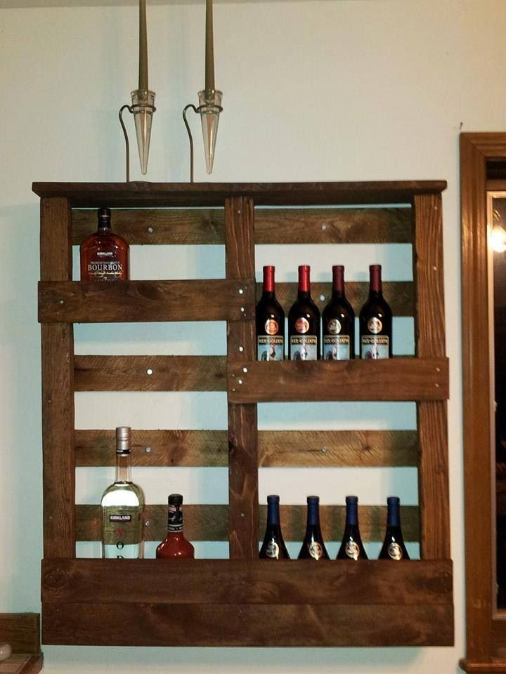 Wall Mounted Liquor Cabinet Pallet Wood Bottle Rack Pallets