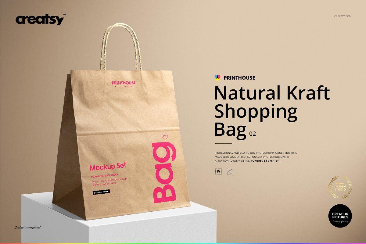 Download Natural Kraft Shopping Bag 2 Mockup Graphic Design Tips Paper Bag Design Personalized Prints