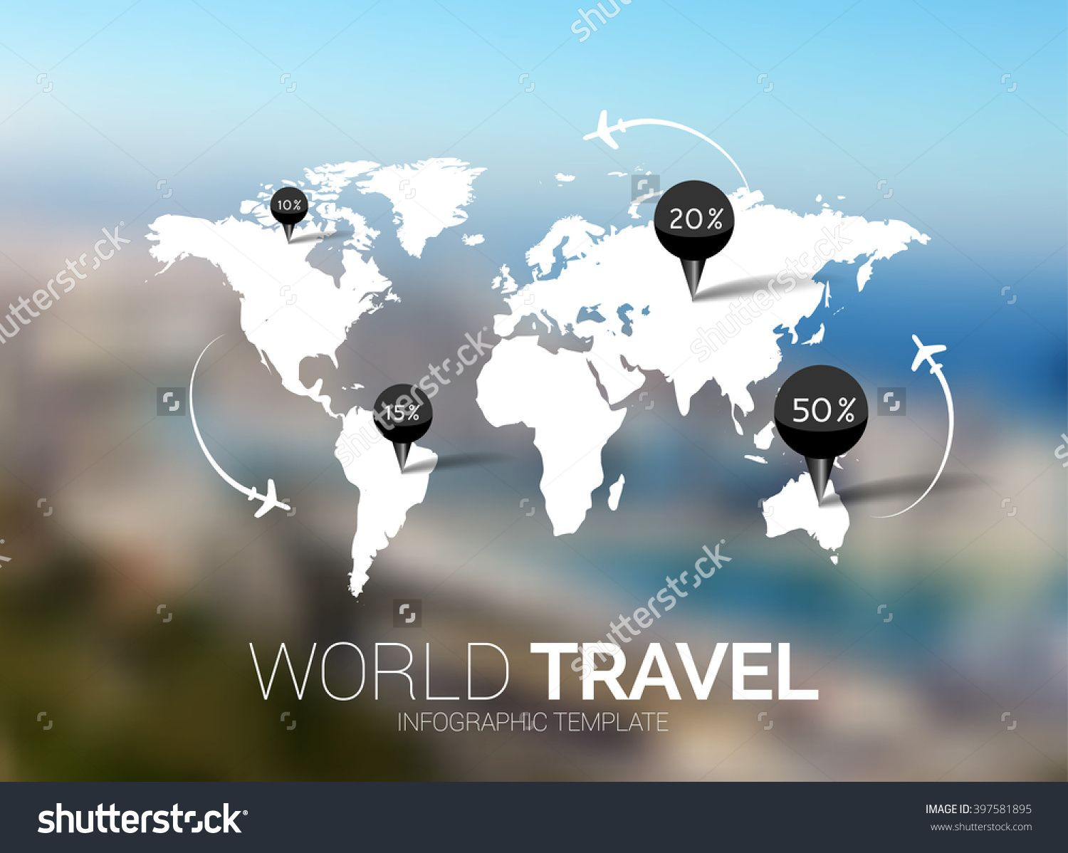 Vector template world map on blurred nature background points world map on blurred nature background points travel concept gumiabroncs Choice Image