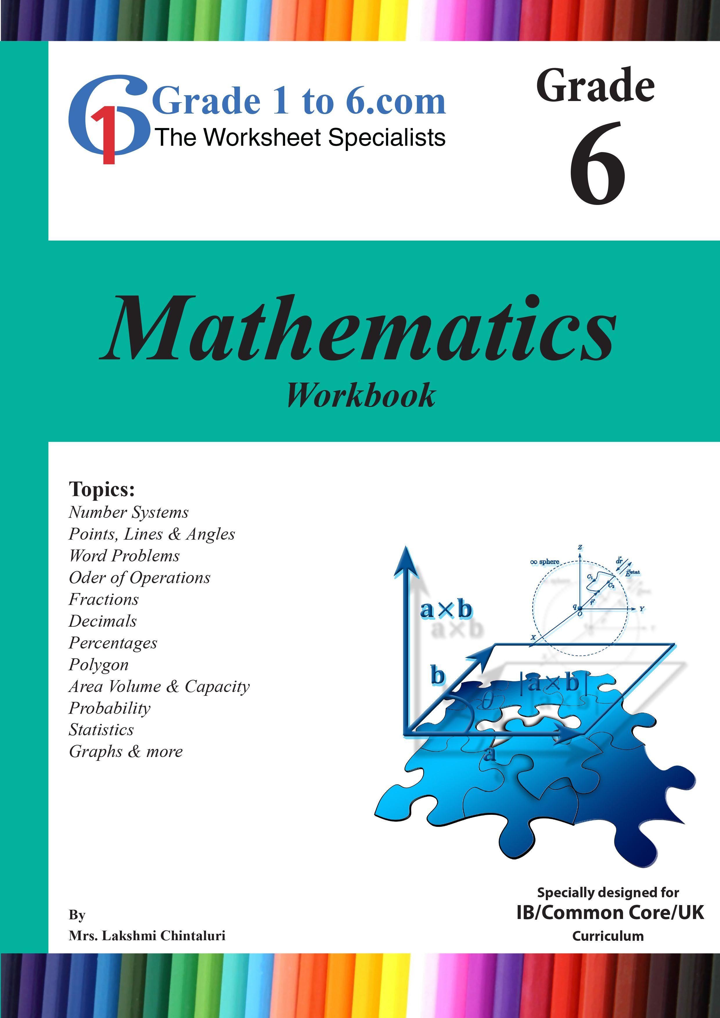Grade 6 Maths Workbook from www.Grade1to6.com Books | Math Workbooks ...