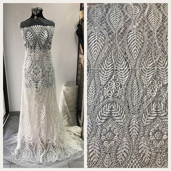 46c8ea5fd92 Off White Light Ivory bridal lace fabric embroidered beaded pearls sequins  floral Baroque design