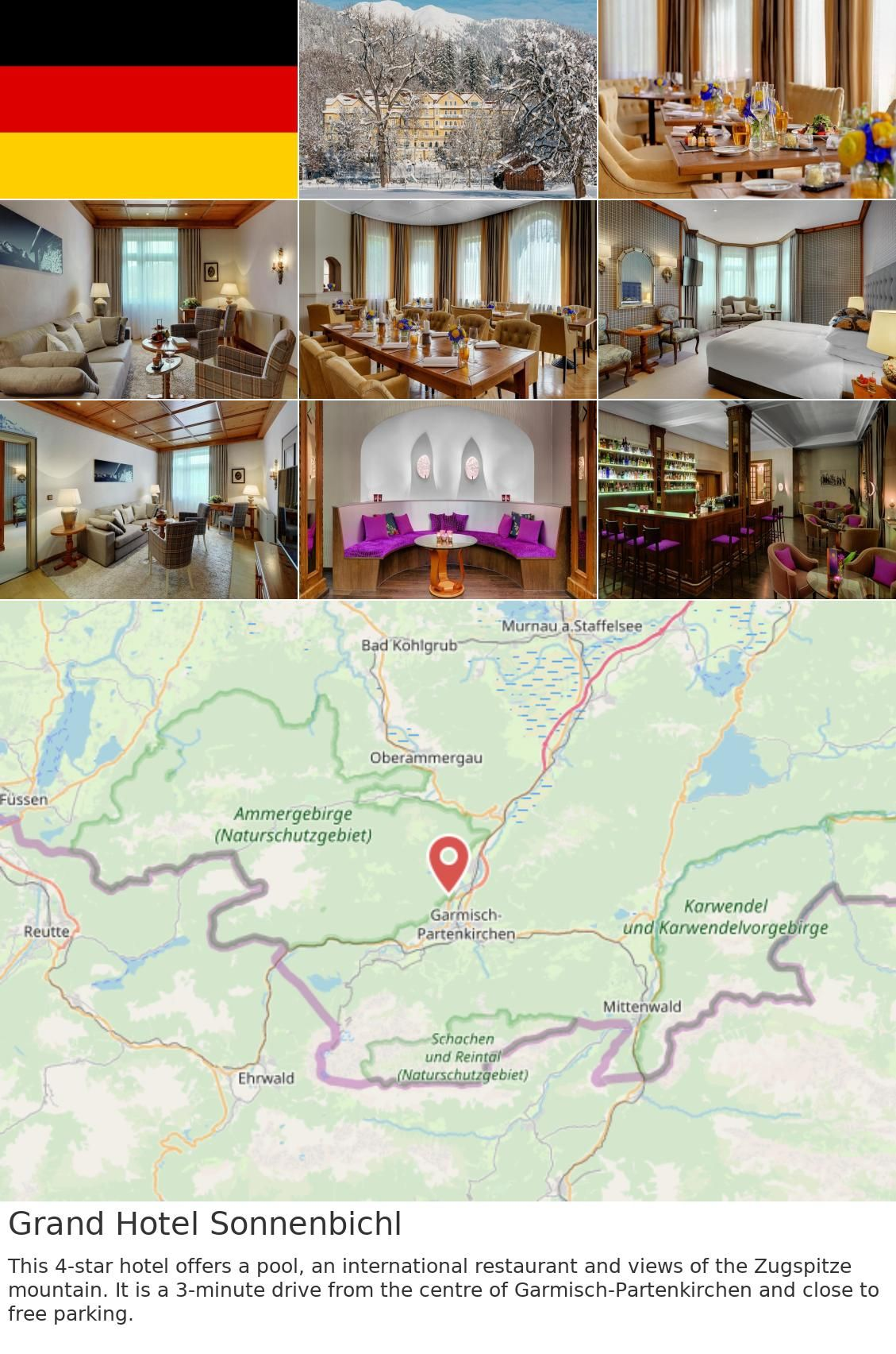 Europe Germany Garmisch Partenkirchen Grand Hotel Sonnenbichl This 4 Star Hotel Offers A Pool An International Restaurant And Views Of The Zugspitze Mounta
