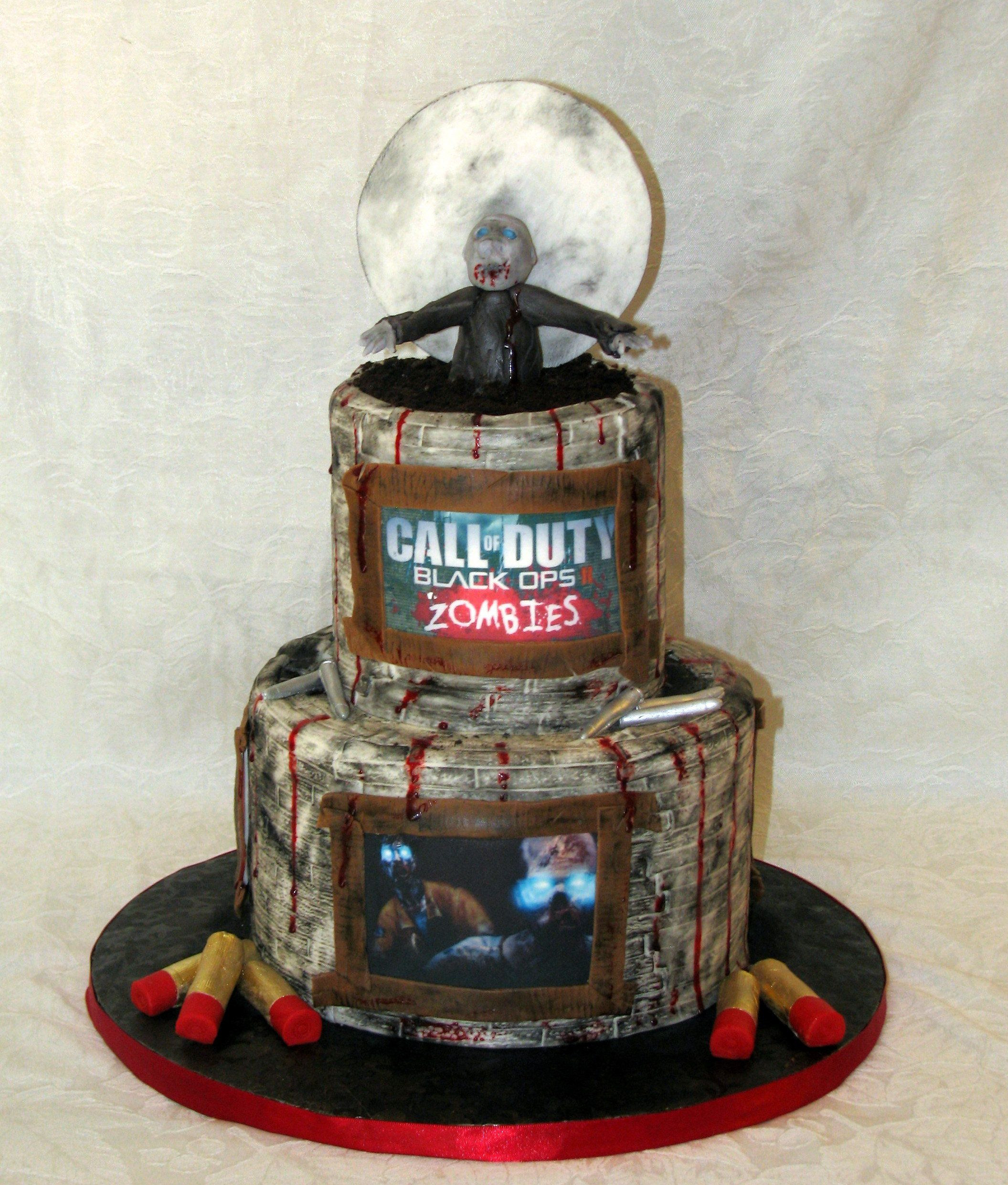 call of duty fondant camoflauge cake with sugar handmade bullets