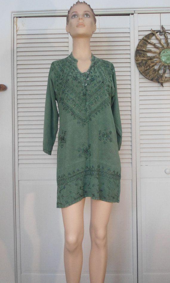 25abc34175 Green India Dress Tunic Mini Top Hippie Boho Dress Sequin Size Large ...