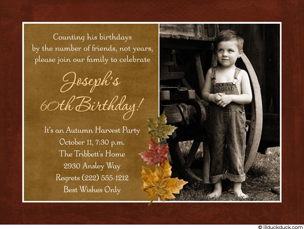 60th Birthday Harvest Party Invitation Autumn Photo Card