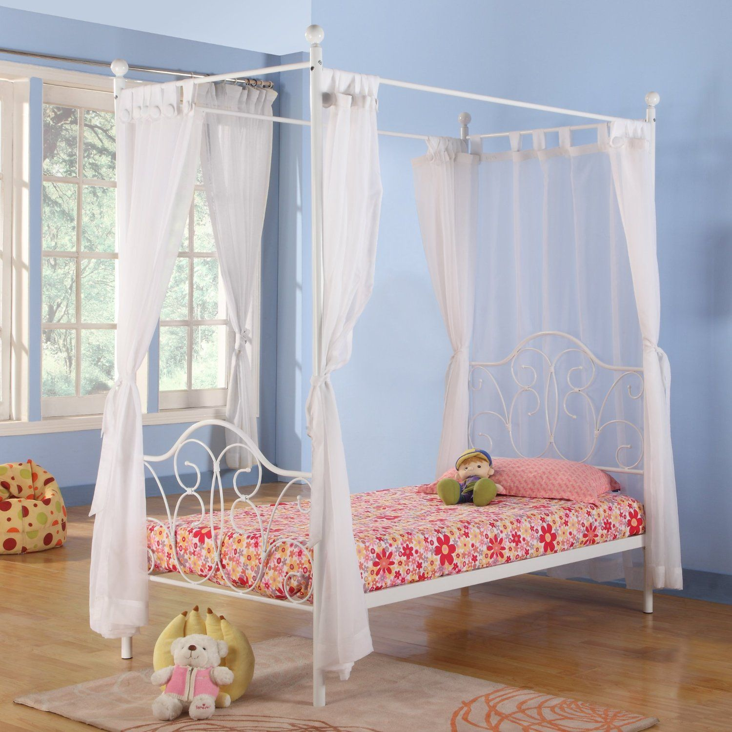 Kids Metal Twin Canopy Bed in White Finish