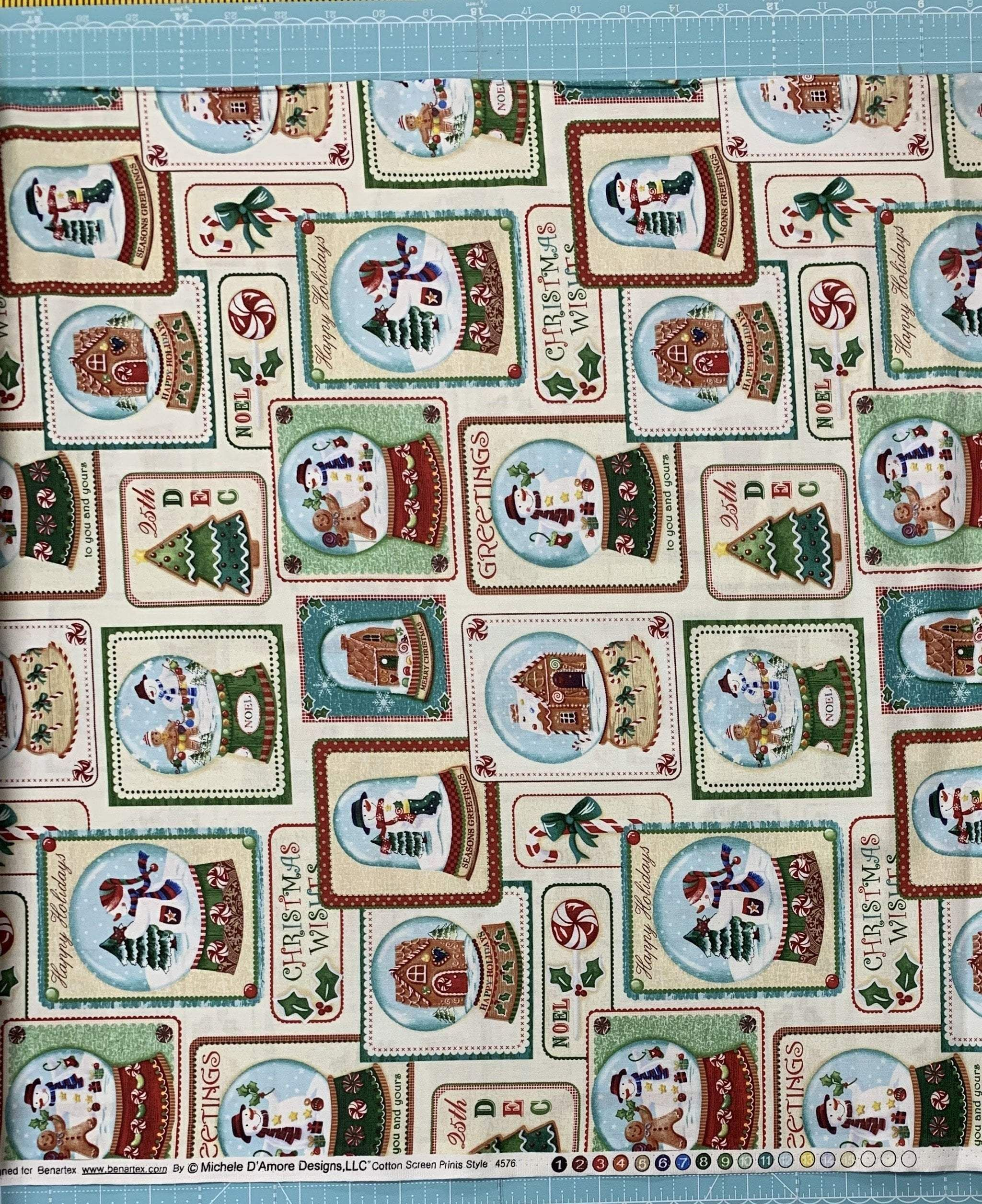 Happy Holidays Snowmen - Per Yard - Benartex - Holiday Collection by Michael D'Amore - Gift Tags or Blocks!  #easypattern #benartex #quiltingfabric #layercake #jellyroll #vintagechristmas #quilt #supplies #quilting #RebsFabStash