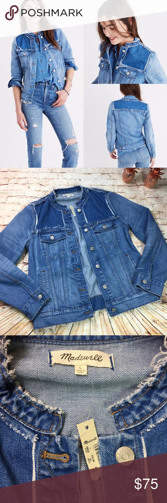 Madewell Distressed Collarless Denim Jacket Collarless Denim Jacket Clothes Design Fashion [ 1740 x 580 Pixel ]