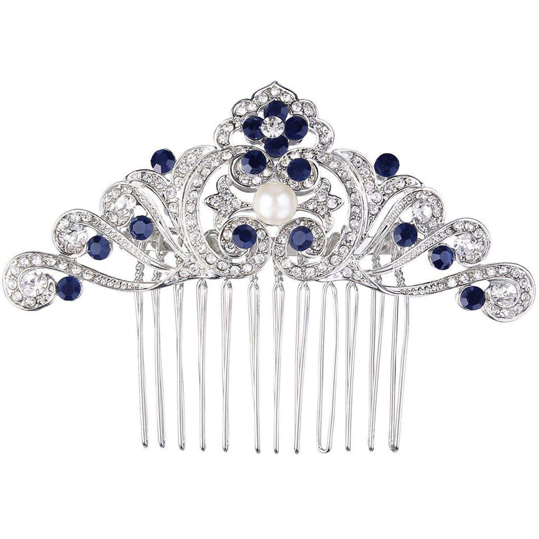 EVER FAITH Women's Austrian Crystal Wedding Bridal Art Deco Flower Headband Tiara Clear Silver-Tone sjrXmddMz