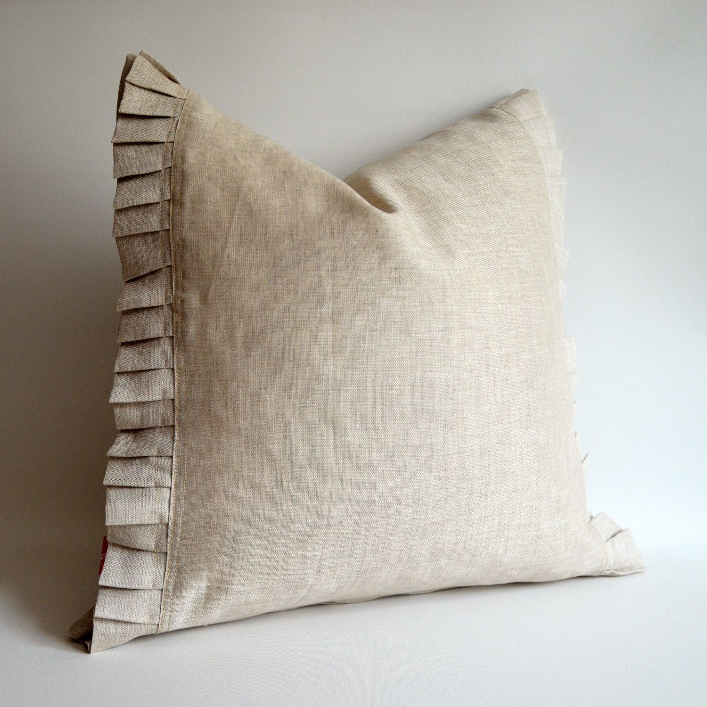 N 1 Pure Raw Ruffle Linen Pillow Cover Euro Shams Decorative Eco Friendly 26x26 Covers 80 00 Via Etsy