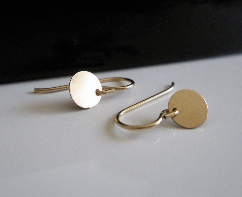 Simple Gold Earrings - gold circle earrings, gold disc earrings, dainty earrings. $23.00, via Etsy.