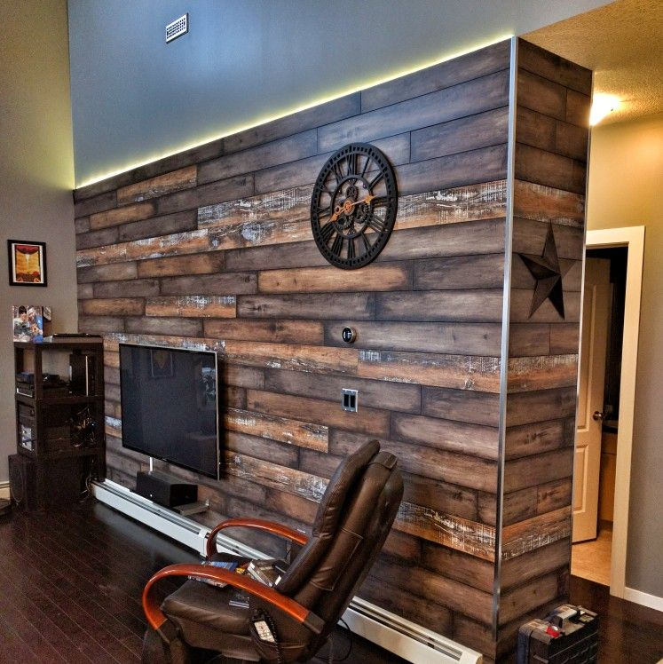 Tin Accent Wall With Wood Trim: Accent Wall, Made From Engineered Hardwood Flooring, Air
