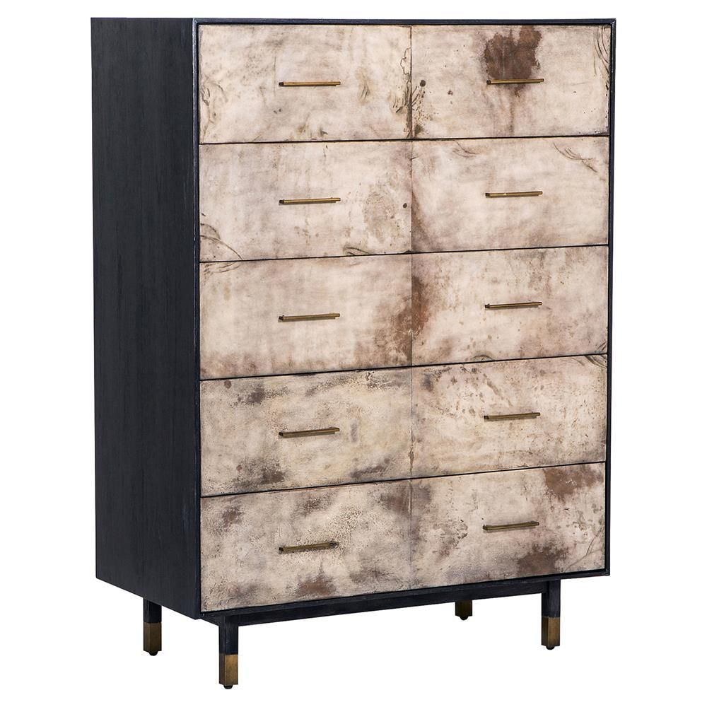 Grenville modern classic vellum cerused oak tall chest modern