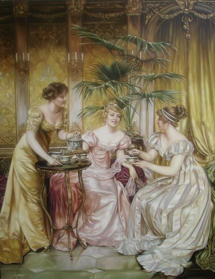 Afternoon Tea for Three a painting by Charles Joseph Frédéric Soulacroix
