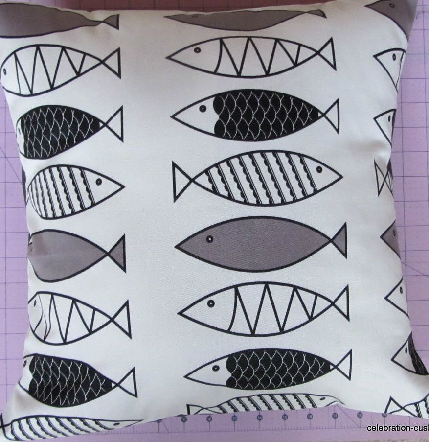 NEW BLACK, GREY & IVORY WHITE FISH PATTERNED HOME DECOR CUSHION COVER #handmadecushioncover