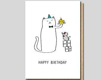 Funny Birthday Card Cat Blank Friend Animal Sister