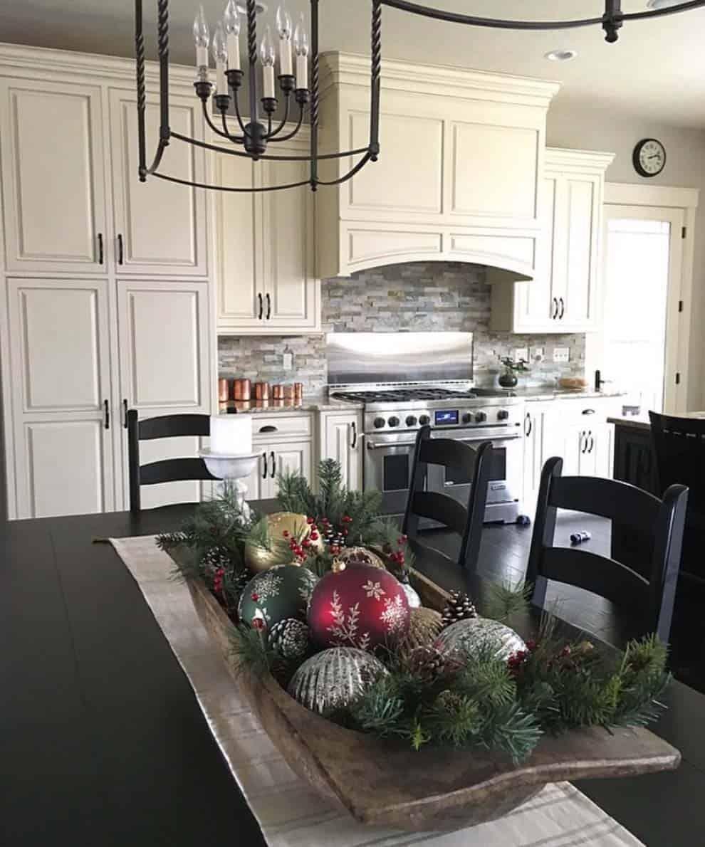 33 Inspiring Christmas Decor Ideas To Elevate Your Dining Table Christmas Kitchen Decor Christmas Dining Table Christmas Bowl Decorations