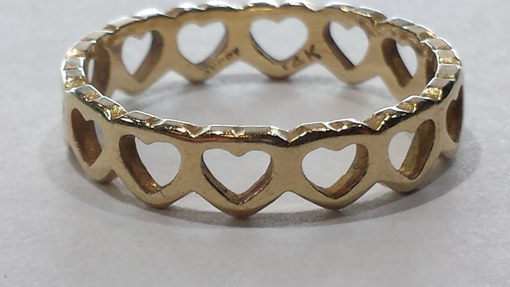 James avery 14k gold tiny hearts band ring size 65