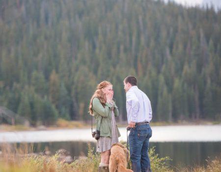 Mountain Proposal at Brainard lake with Dog Pulling Out Proposal Ring