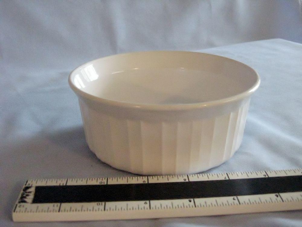 Corning Ware French White Small Casserole F 16 B Round Vertical Ribbed Ramekin Dishes Ramekins Dishes