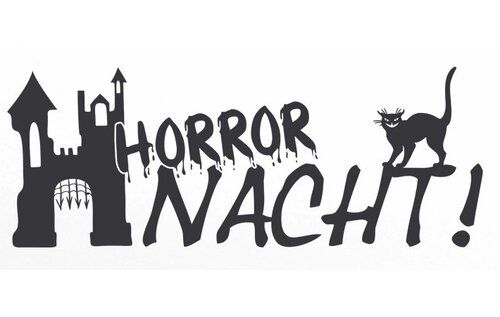 Wandtattoo Horror Nacht, Katze, Schloss East Urban Home Farbe: Brillantblau, Größe: 30 cm H x 79 cm B