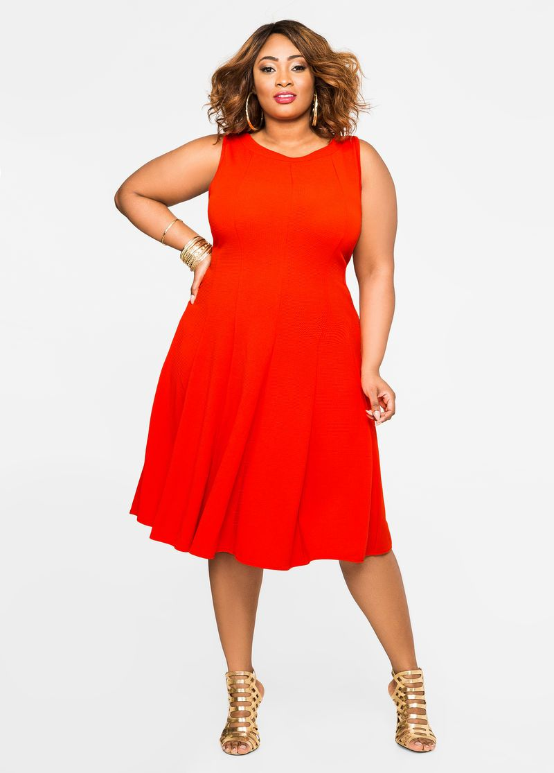 Plus Size Dresses Sleeveless Fit N Flare Dress Fit N Flare Dress Plus Size Dresses Flare Dress [ 1115 x 800 Pixel ]