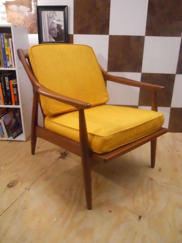 Mid Century Danish Modern Teak Wood Lounge Chair Made In Denmark