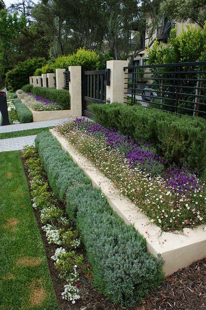 landscaping garden design ideas layered landscaping black iron fencing & gate   Gates