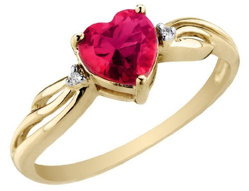Created Ruby Heart Ring With Diamonds 7 8 Carat Ctw In 10k Yellow Gold 110 00 Save 190 00 With Images Ruby Heart Ring Heart Ring