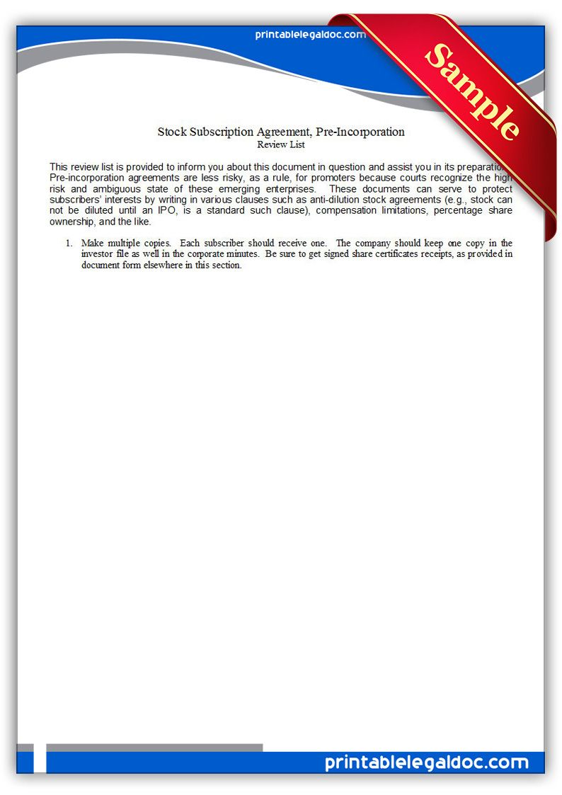 Free Printable Stock Subscription Agreement Pre Incorporation