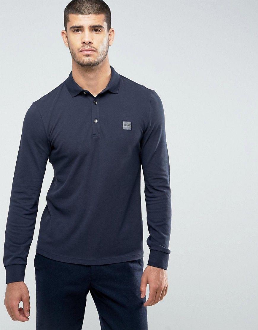 fba0fcb8a6 BOSS Orange by HUGO BOSS Paulyn Slim Fit Long Sleeve Polo Shirt in ...