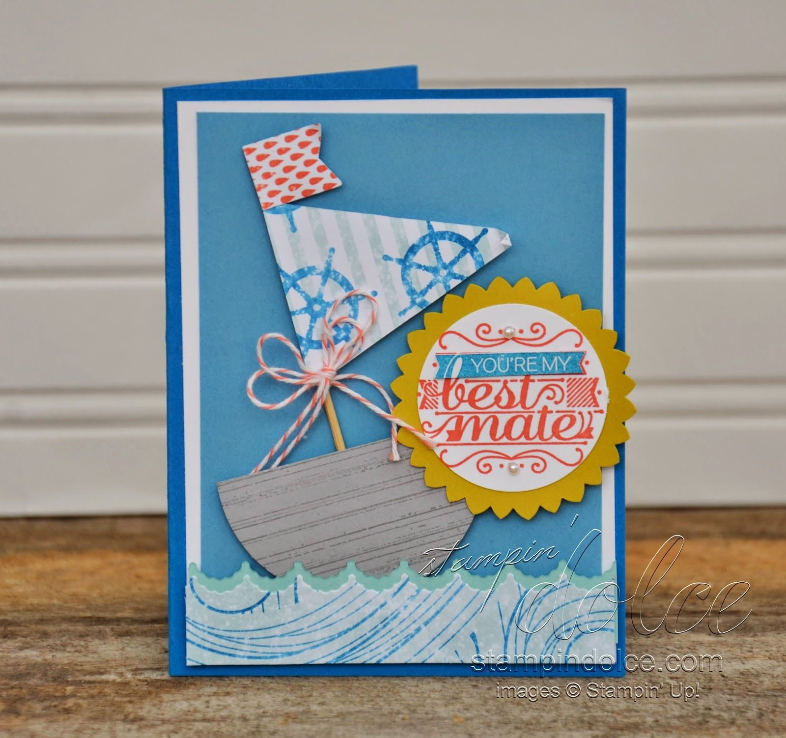 Stampin' Dolce: nautical theme scrapbook layout & cards using Stampin' Up!'s High Tide DSP and Hello, Sailor