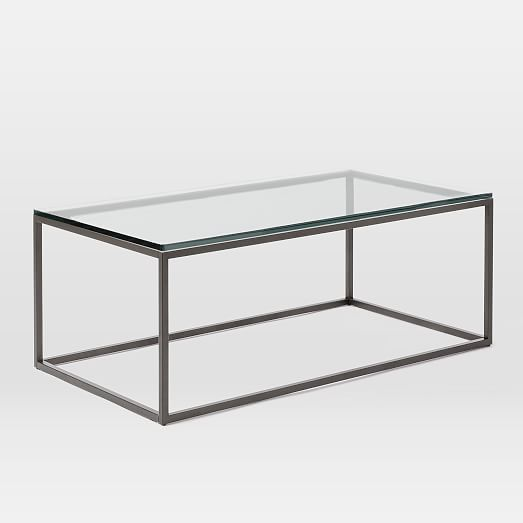Box Frame Coffee Table Glass Antique Bronze Glass Table Clear