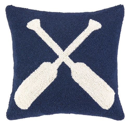 Navy and White Oars Wool Hooked Nautical Pillow