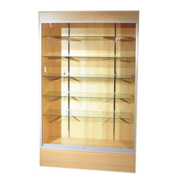 Affordable Trophy Case With Glass Sliding Doors Lock Lights