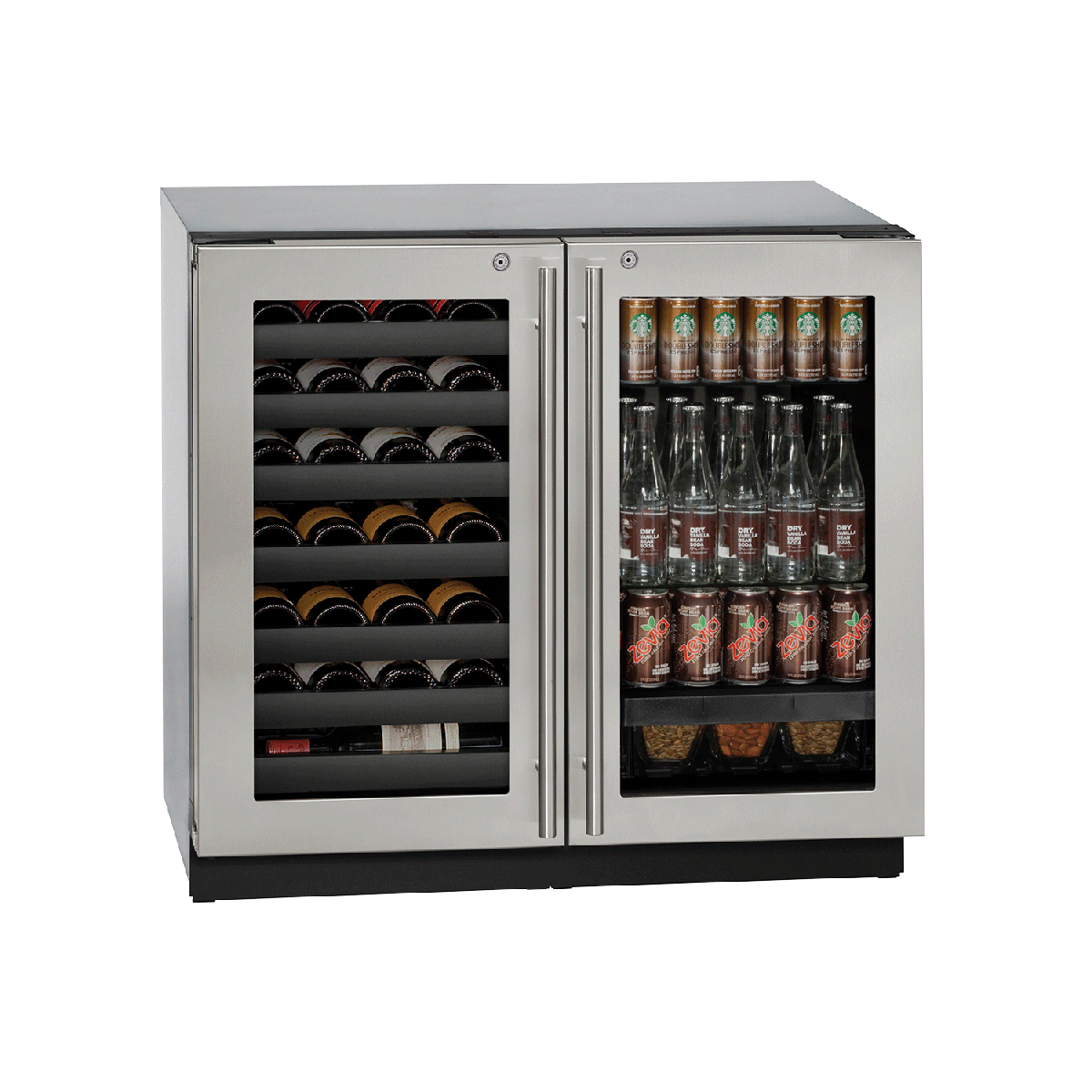 U Line U 3036bvwcs 13b Stainless Steel 36 Inch Wide 123 Can Capacity Beverage Center With 79 12 Oz Bottle Capacity Wine Racks Lock And U Select Controls Wi Beverage Center Beverage Refrigerator Wine Rack