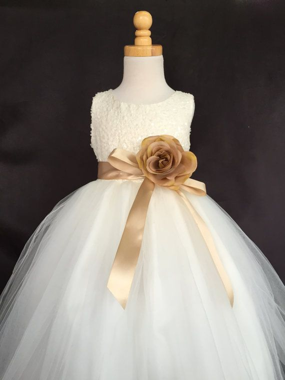 137c9c5161f Ivory Wedding Bridal Bridesmaids Sequence Tulle Flower Girl Dress Toddler 9  12 18 24 Months 2 4 6 8 10 12 14