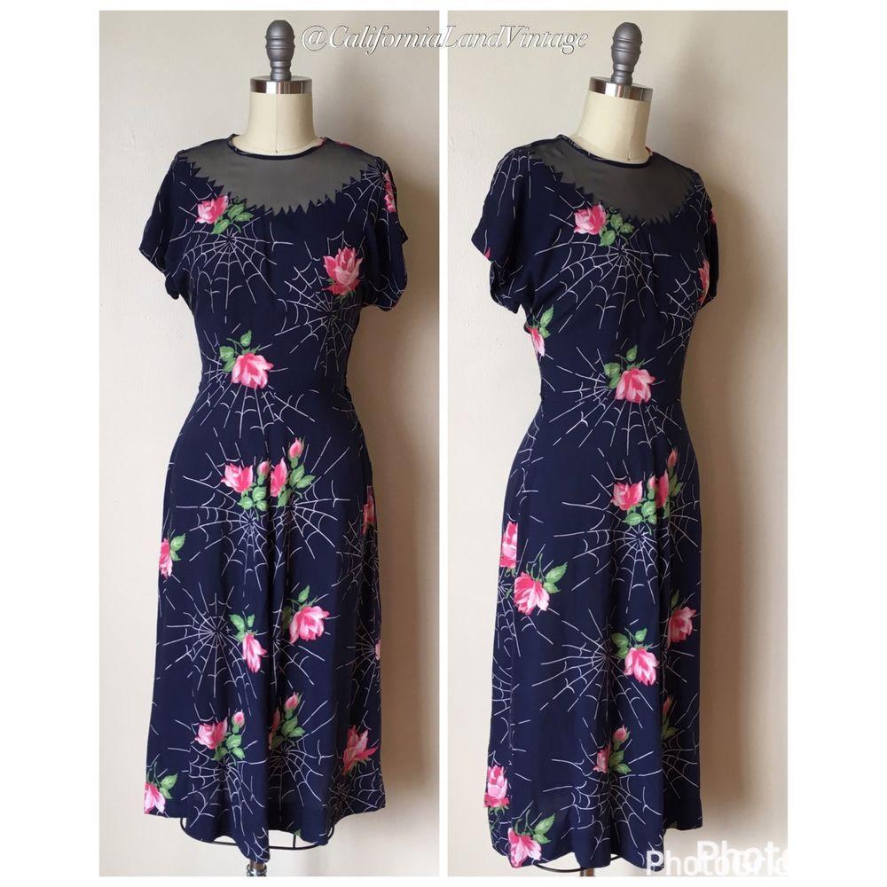 True Vintage 40s 1940s Novelty Spider Cob Web Print Dress Rayon ...
