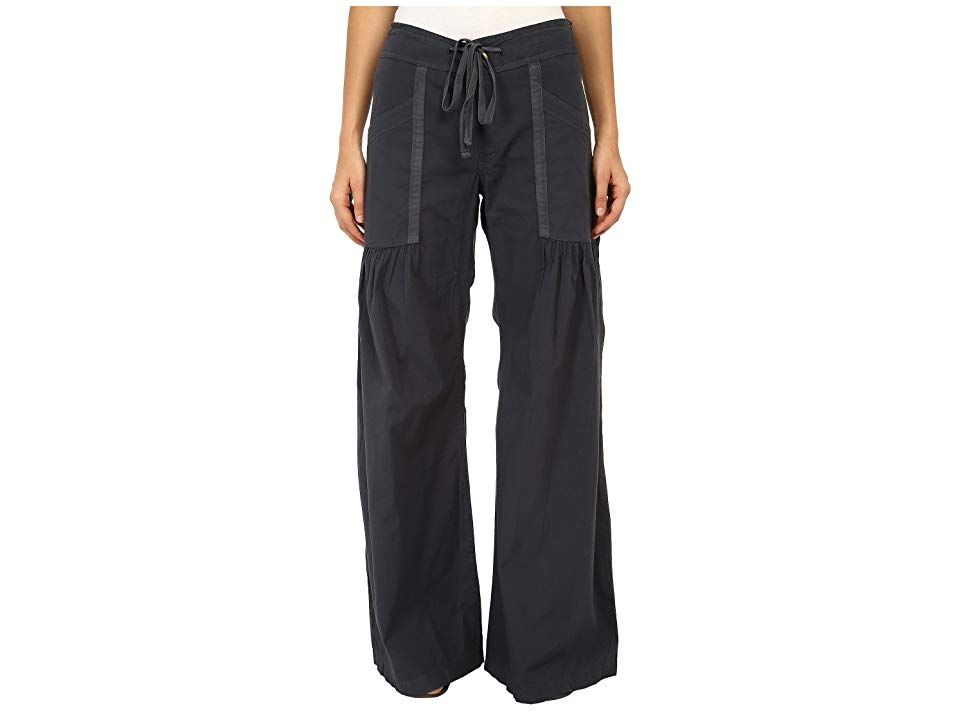 XCVI Willow Wide Leg Stretch Poplin Pants Charcoal Womens Casual Pants Dramatic yet casual style Stretch poplin pant has a high rise and willowy wide leg Front pork chop...