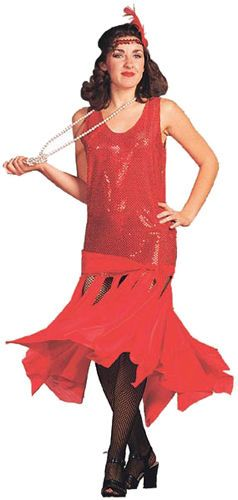 b00c0e0632f Womens Red Roaring 20s Red Flapper Dress Halloween Costume Outfit Size 8-12