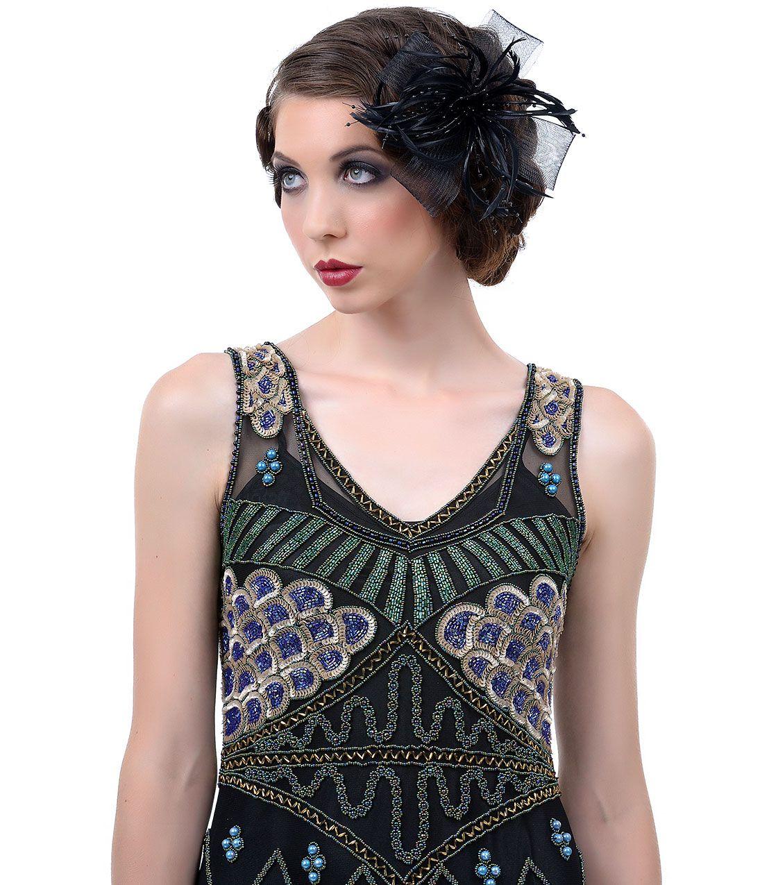Black feather net u bead fascinator headband unique vintage prom
