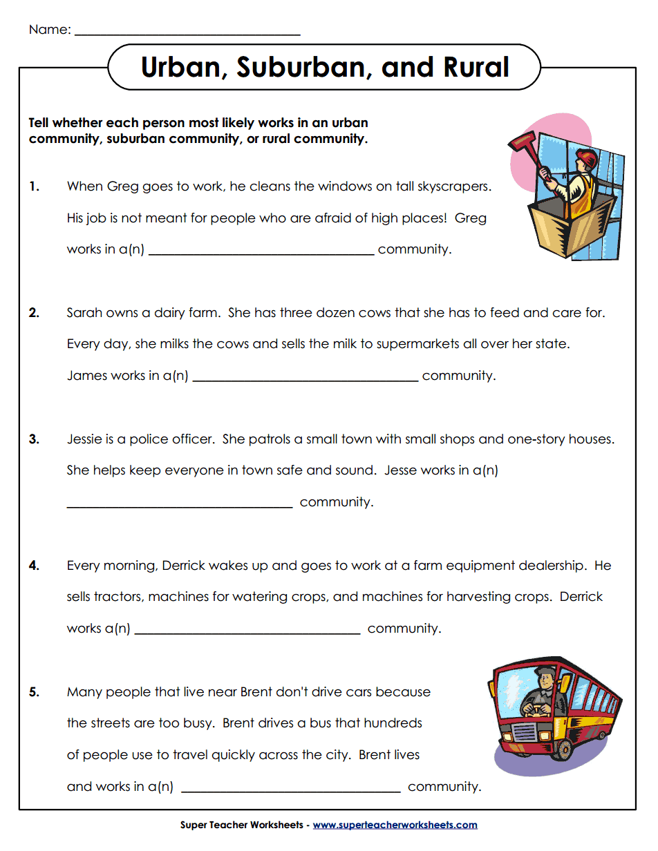 urban-suburban-rural.pdf | Social studies worksheets, 3rd ...