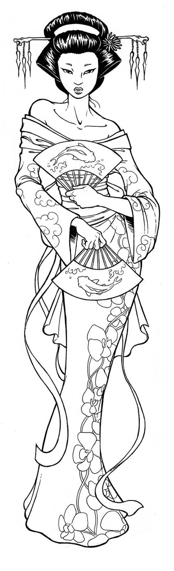 beautiful geisha coloring page asian coloring pages