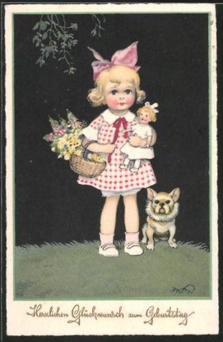 alte-Kuenstler-AK-Fritz-Baumgarten-Maedchen-mit-Korb-Puppe-Hund-1926
