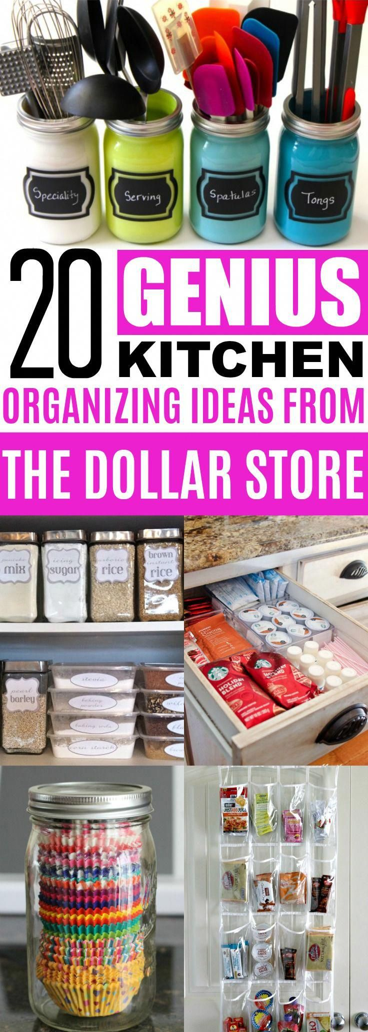 20 Clever Dollar Store Organization Ideas To Declutter Your Kitchen images