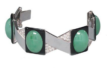 Bracelet, Jean Fouquet, 1926, grey gold, platinum, diamonds, black enamel, jade