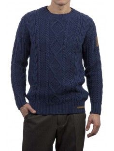 Men's Famous Grouse 100% Lambswool Aran Cable Crew Neck Jumper